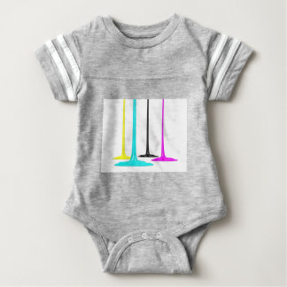 CMYK paint pour on white Baby Bodysuit