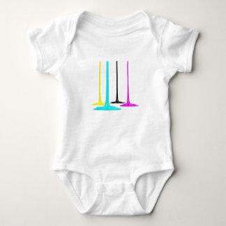 CMYK paint pour on white Baby Bodysuit