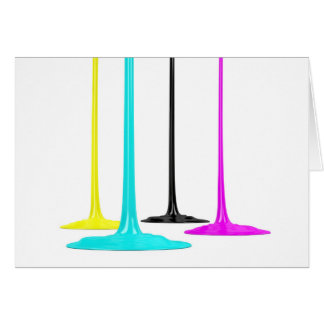 CMYK paint pour on white Card