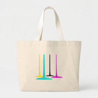 CMYK paint pour on white Large Tote Bag