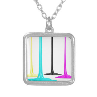 CMYK paint pour on white Silver Plated Necklace