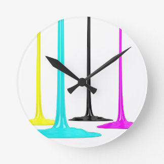 CMYK paint pour on white Wall Clocks