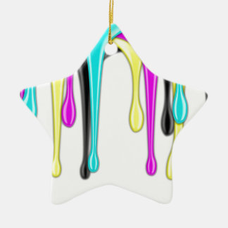 CMYK paint splash Ceramic Ornament