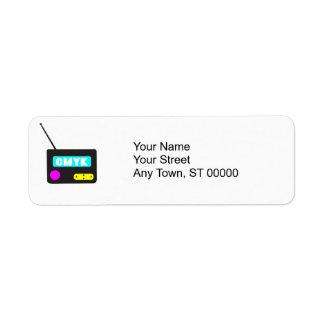 CMYK portable retro radio Return Address Label