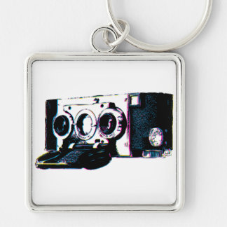 CMYK Vintage Camera Picture Pop Art Silver-Colored Square Key Ring