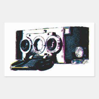 CMYK Vintage Camera Picture Pop Art Rectangle Sticker