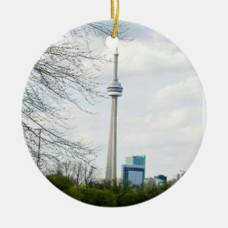 CN Tower and Toronto Down Town on back Ceramic Ornament
