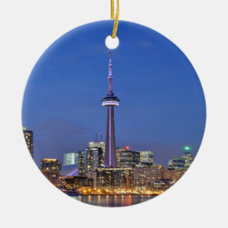 CN Tower in Toronto at night Ceramic Ornament