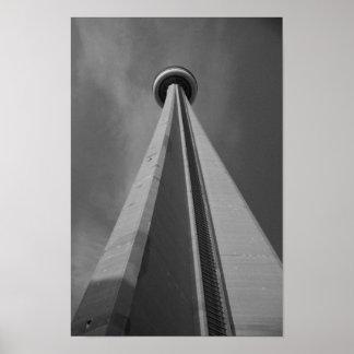 CN Tower Toronto Canada Black & White Photo Poster