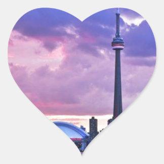 CN Tower : View from Center Island Toronto Heart Sticker