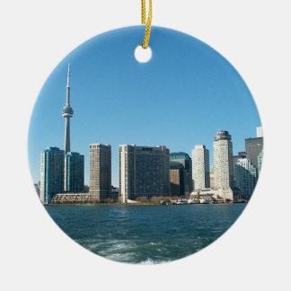 CNTower CN+Tower Toronto lake Ontario Landmark fun Round Ceramic Decoration