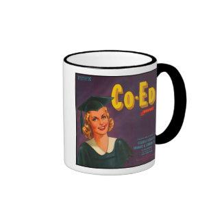 Co Ed Brand VIntage Crate Label Ringer Mug