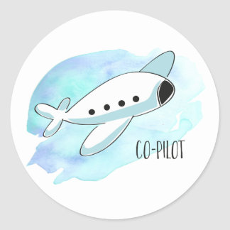 Co-Pilot with Plane Classic Round Sticker