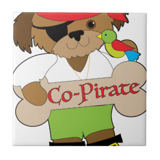 Co-Pirate Dog Small Square Tile
