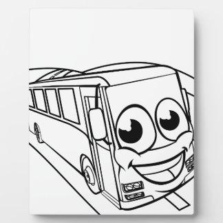 Coach Bus Cartoon Character Mascot Scene Plaque