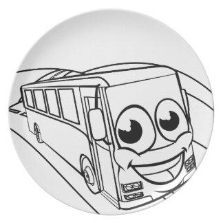 Coach Bus Cartoon Character Mascot Scene Plate