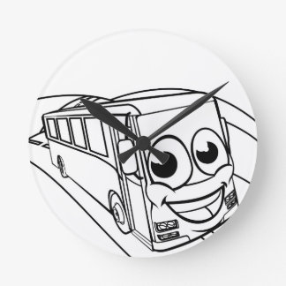 Coach Bus Cartoon Character Mascot Scene Round Clock