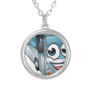 Coach Bus Cartoon Character Mascot Silver Plated Necklace