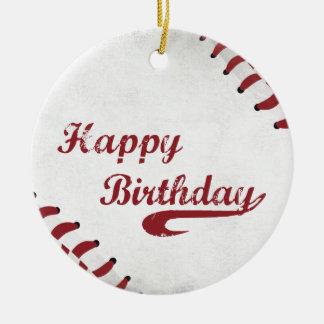Coach Happy Birthday Large Grunge Baseball, Sport Ceramic Ornament