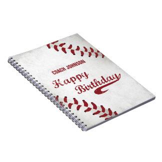 Coach Happy Birthday Large Grunge Baseball, Sport Notebook