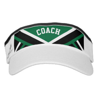 Coach in Dark Green, Black & White School Colors Visor