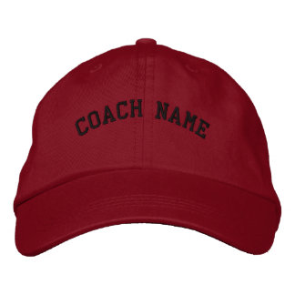Coach Name Personalized Embroidered  Cap Red