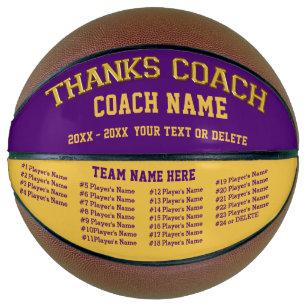 Coach, Team, All Player's Names, Custom Basketball