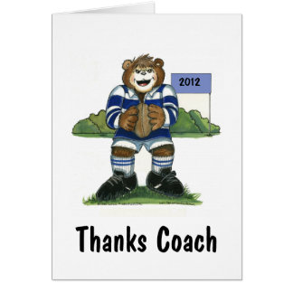 Coach Thank You Card, Rugby Bear in Blue Greeting Card