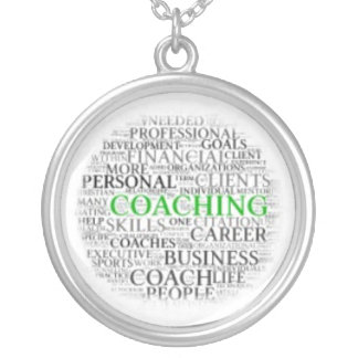 Coaching Round Necklace - Green Coaching letters