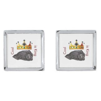 Coal is King Cufflinks Silver Finish Cuff Links