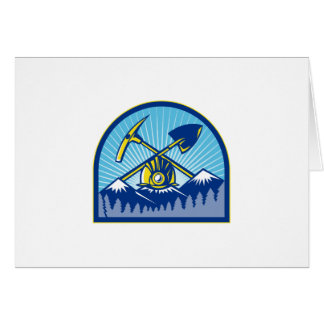 Coal Miner Hardhat Pick Axe Shovel Retro Card