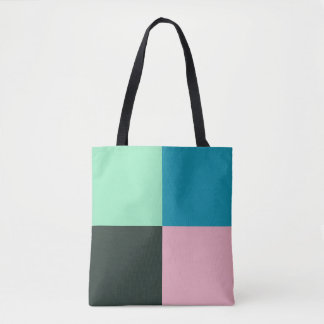 Coal Pink Teal Green Blue Aqua Turquoise Tote Bag
