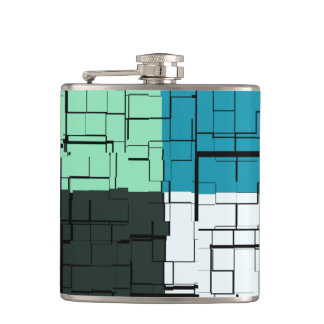 Coal White Teal Green Aqua Blue Modern Pattern Hip Flask
