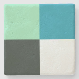 Coal White Teal Green Aqua Blue Modern Pattern Stone Coaster
