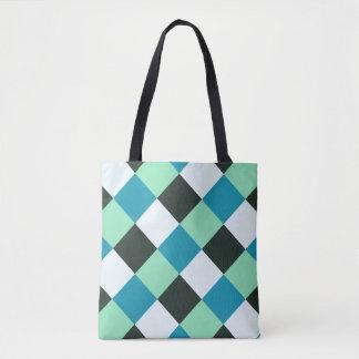 Coal White Teal Green Blue Aqua Turquoise Plaid Tote Bag