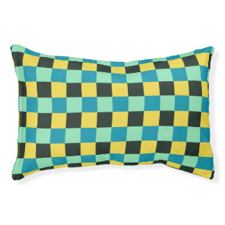 Coal Yellow Teal Green Blue Aqua Turquoise Pet Bed