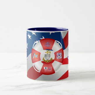 Coast Guard CPO Life-Ring Two-Tone Coffee Mug