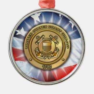 Coast Guard Silver-Colored Round Decoration