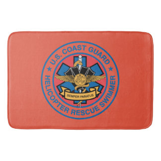Coast Guard Helicopter Rescue Swimmer Bath Mat