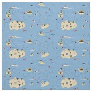 Coast Guard Rescue Map Fabric Pattern