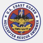Coast Guard Rescue Swimmer Round Stickers