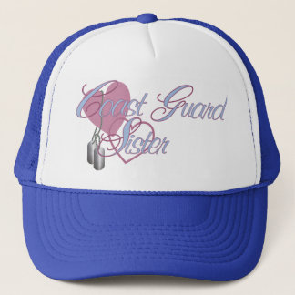Coast Guard Sister Hearts N Dog Tags Trucker Hat