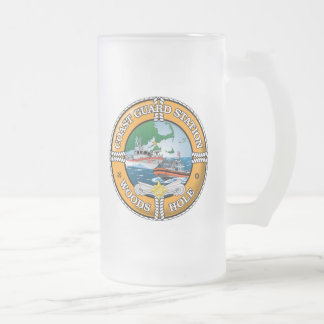 Coast Guard Station Woods Hole Frosted Glass Beer Mug
