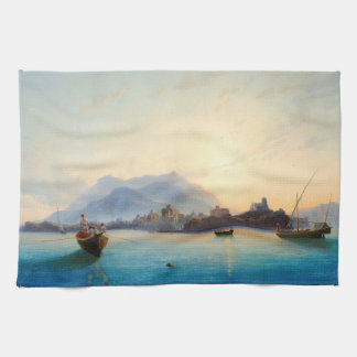 Coast Italy Ocean Fishing Boats Dawn Kitchen Towel