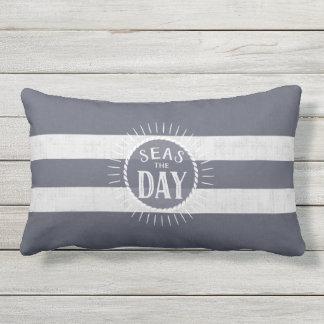 Coast Lover's Seas the Day Beach Bum Navy Striped Lumbar Cushion