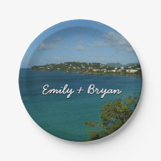 Coast of St. Lucia Caribbean Vacation Photo Paper Plate