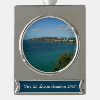 Coast of St. Lucia Caribbean Vacation Photo Silver Plated Banner Ornament