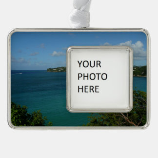 Coast of St. Lucia Caribbean Vacation Photo Silver Plated Framed Ornament