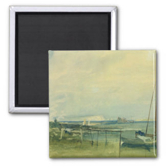 Coast Scene with White Cliffs and Boats on Shore ( Magnets