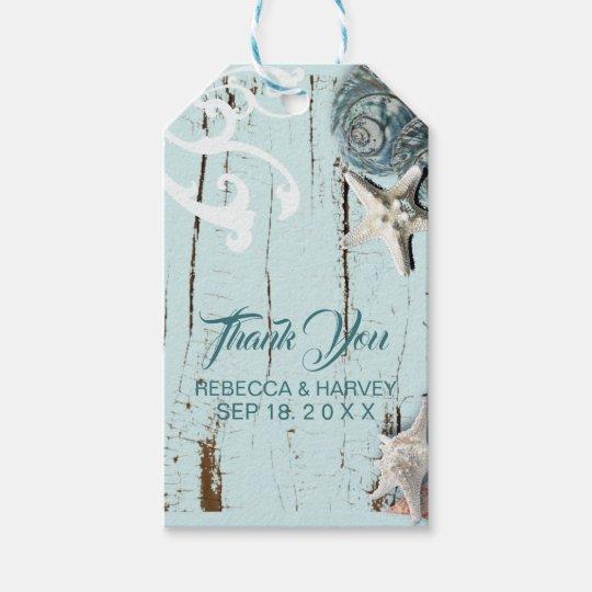 coastal aqua blue seashell beach wedding gift tags